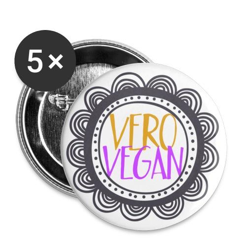VeroVegan logo highres - Confezione da 5 spille piccole (25 mm)