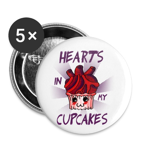 Hearts in my Cupcakes light - Buttons small 1''/25 mm (5-pack)