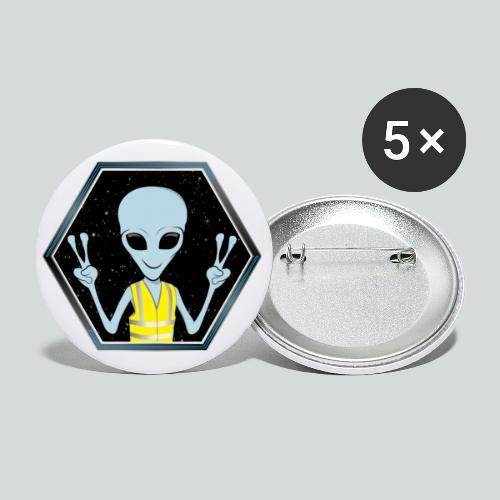 Extraterrestre Gilet jaune - Lot de 5 petits badges (25 mm)