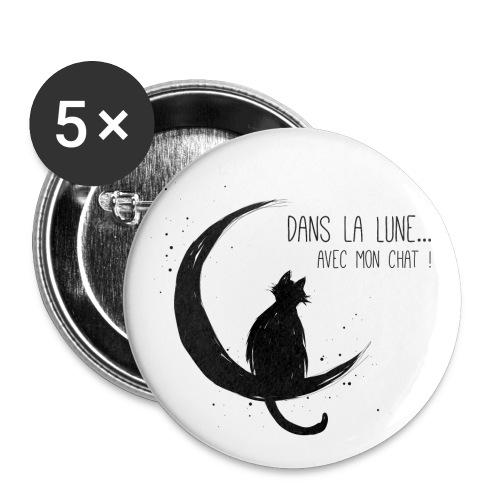 Dans la Lune... avec mon chat ! - Lot de 5 petits badges (25 mm)