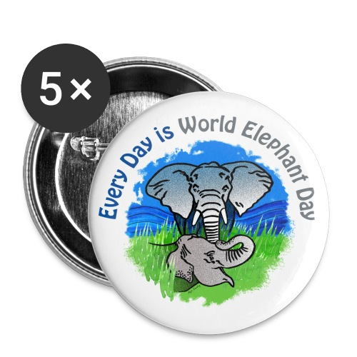Every Day Is World Elephant Day - Buttons klein 25 mm (5er Pack)