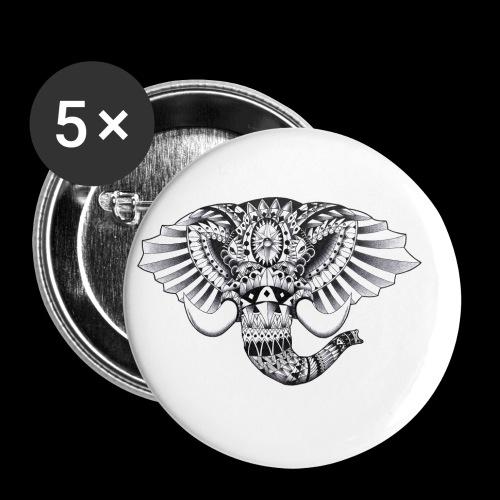 Elephant Ornate Drawing - Confezione da 5 spille piccole (25 mm)