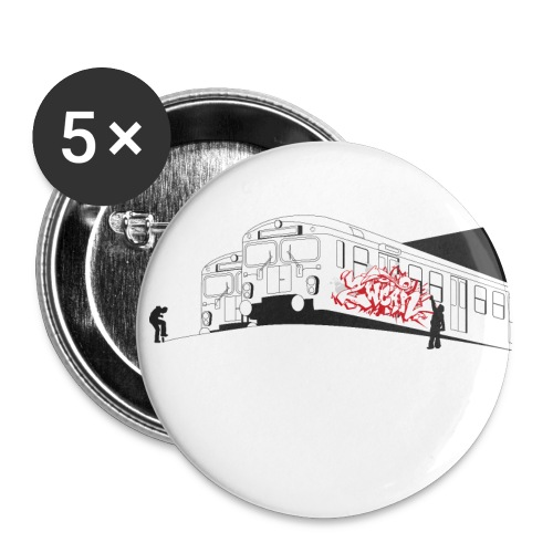 √ Graffiti Trains - Buttons/Badges lille, 25 mm (5-pack)