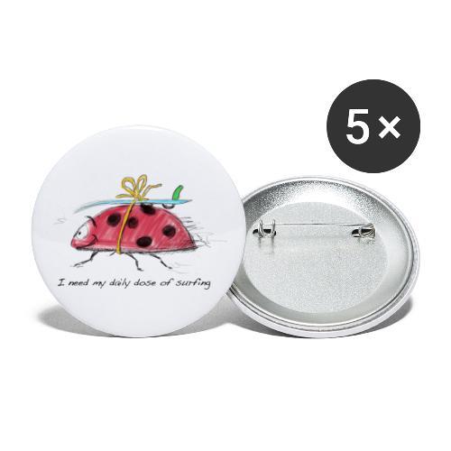 Ein Krabbeltier will surfen - Buttons klein 25 mm (5er Pack)