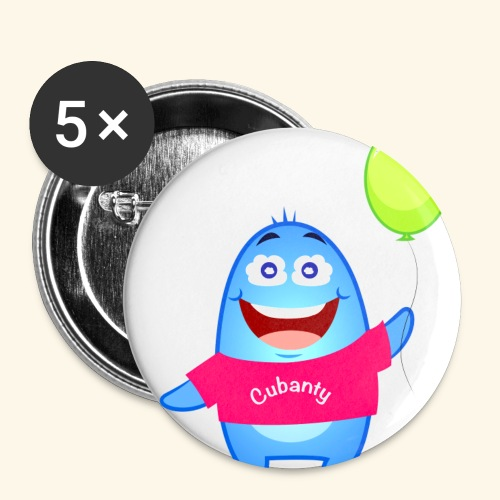 Cubanty mit Ballon - Buttons klein 25 mm (5er Pack)