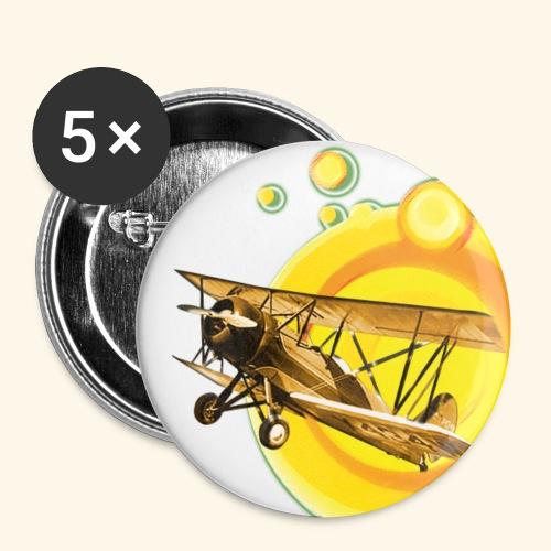 AVIÓN ANTIGUO - Paquete de 5 chapas pequeñas (25 mm)