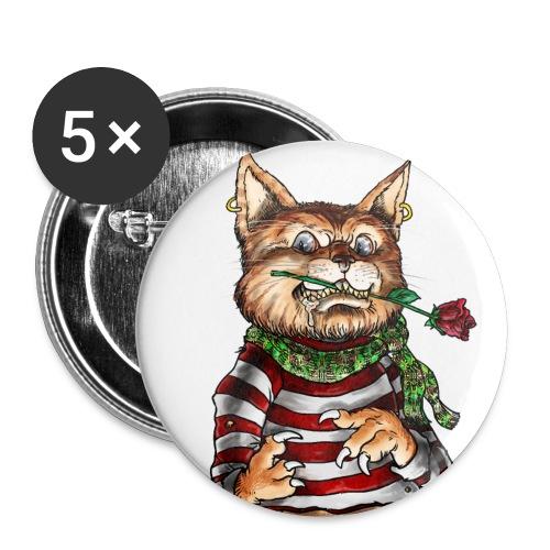 T-shirt - Crazy Cat - Lot de 5 petits badges (25 mm)