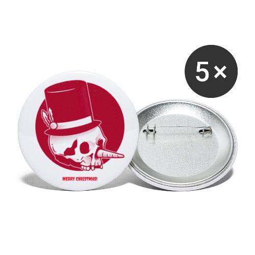 Kerstmis met kerst doodshoofd en hoed - Buttons klein 25 mm (5-pack)