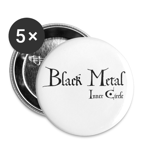 black metal Inner Circle, black ink - Buttons small 1''/25 mm (5-pack)
