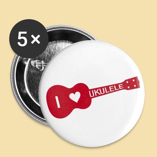 I love UKULELE - Buttons klein 25 mm (5er Pack)