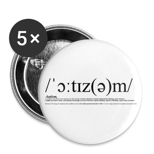 AUTISM BLACK - Buttons small 1''/25 mm (5-pack)
