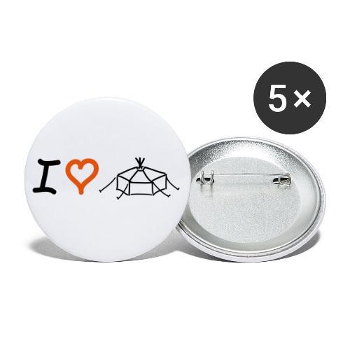 I love Jurte - Buttons klein 25 mm (5er Pack)