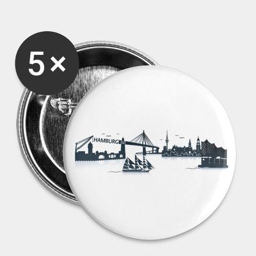 Hamburg Skyline - Buttons klein 25 mm (5er Pack)