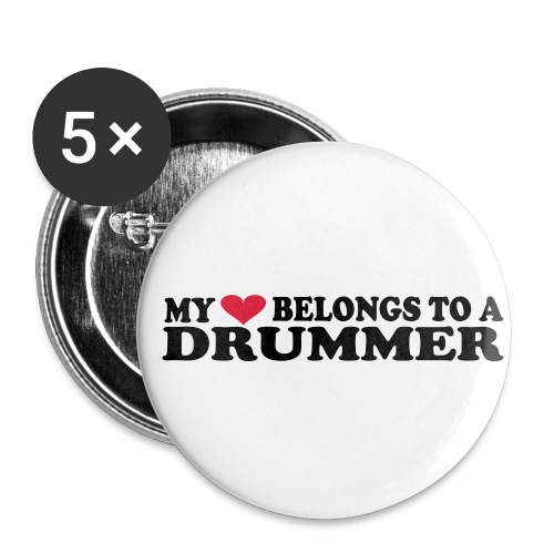 MY HEART BELONGS TO A DRUMMER - Liten pin 25 mm (5-er pakke)