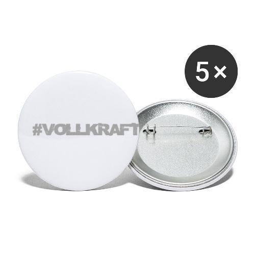 Vollkraft Schriftzug grau - Buttons klein 25 mm (5er Pack)