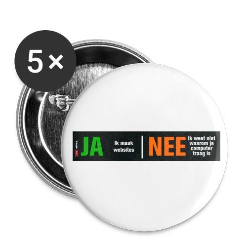Ja ik maak websites - Buttons klein 25 mm (5-pack)