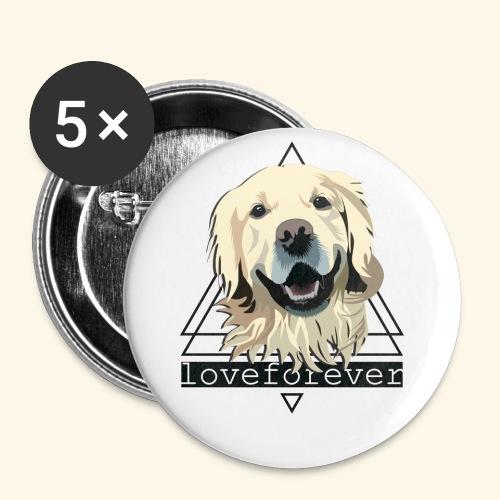 RETRIEVER LOVE FOREVER - Paquete de 5 chapas pequeñas (25 mm)