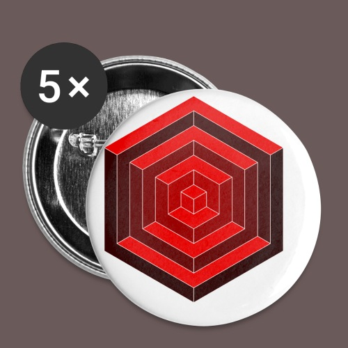 Hexagon Cube - Buttons/Badges lille, 25 mm (5-pack)