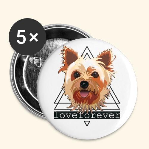 YORKIE LOVE FOREVER - Paquete de 5 chapas pequeñas (25 mm)