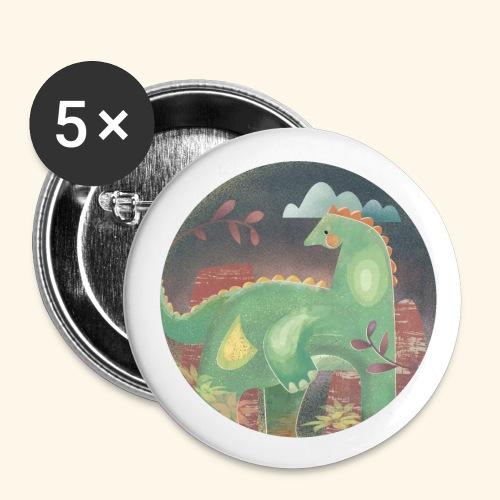 Dinosaur in the landscape - Confezione da 5 spille piccole (25 mm)