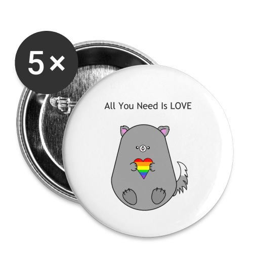 all you need is love - Små knappar 25 mm (5-pack)