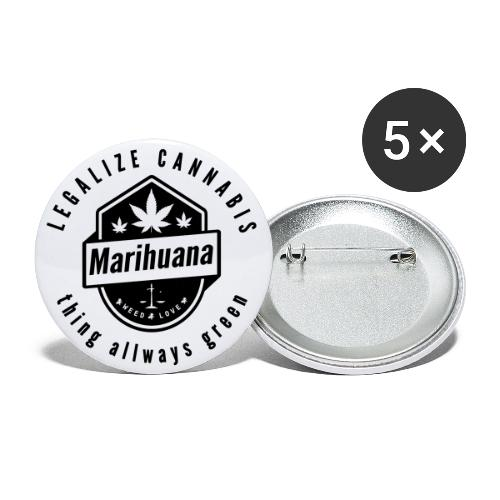 Legalize Cannabis Smoke Weed - Colors Changeable - Buttons small 1''/25 mm (5-pack)