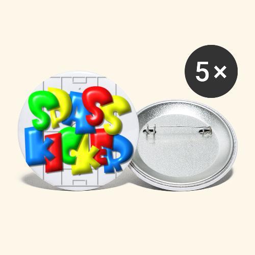Spass Kicker im Fußballfeld - Balloon-Style - Buttons klein 25 mm (5er Pack)