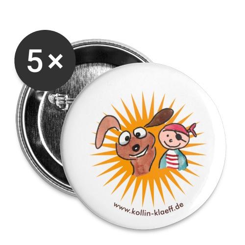 Kollin Kläff - Hund mit Pirat - Buttons klein 25 mm (5er Pack)