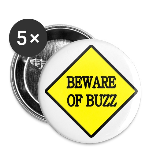 tshirt beware 1 exp - Lot de 5 petits badges (25 mm)