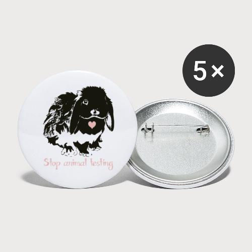 Stop animal testing - Buttons klein 25 mm (5er Pack)