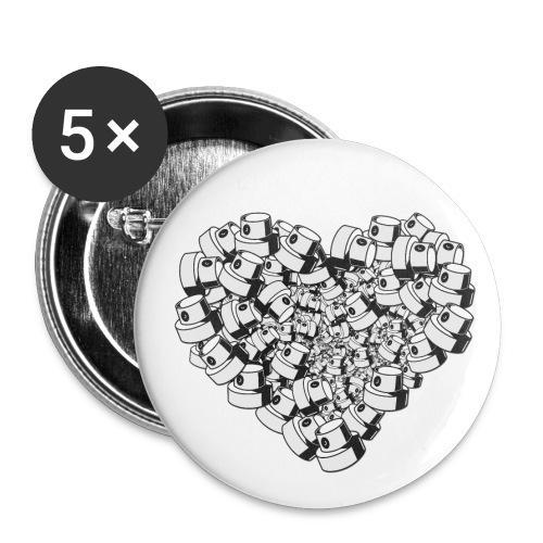 heart for art street love - Buttons/Badges lille, 25 mm (5-pack)