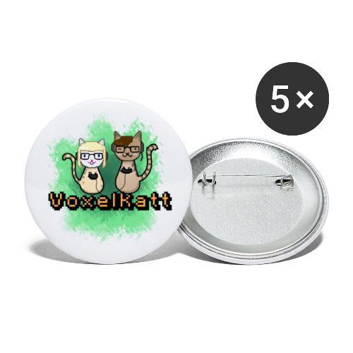 Voxelkatt retro logo - Små knappar 25 mm (5-pack)