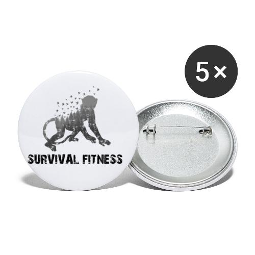 Survival Fitness Logo Schwarz - Buttons klein 25 mm (5er Pack)