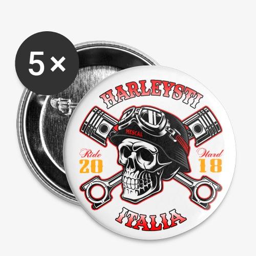 Harleysti Italia - Teschio e pistoni - Ride Hard - Confezione da 5 spille piccole (25 mm)