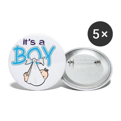 Babyshower Boy Blauw - Buttons klein 25 mm (5-pack)