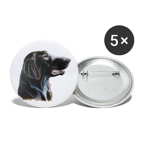 flatcoated retriever color - Buttons/Badges lille, 25 mm (5-pack)