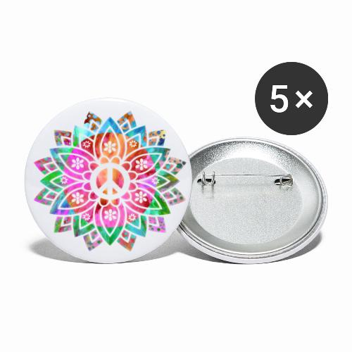 Peace Flower - Buttons small 1''/25 mm (5-pack)
