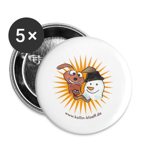 Kollin Kläff - Hund Schneemann Regenwurm - Buttons klein 25 mm (5er Pack)