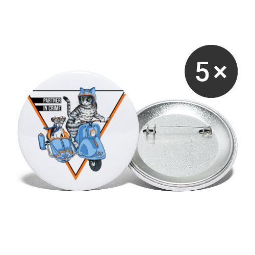Partner in Crime - Cat & Dog - Buttons klein 25 mm (5er Pack)