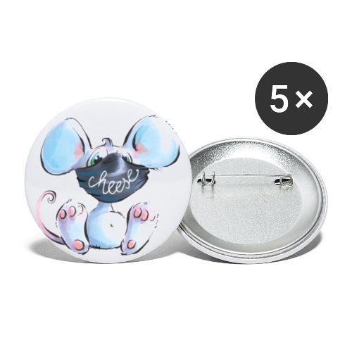 Maskenmaus - Buttons klein 25 mm (5er Pack)