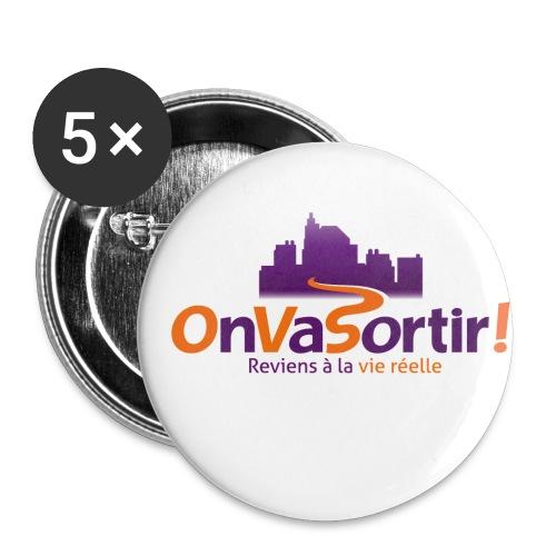 Logo OnVaSortir! - Lot de 5 petits badges (25 mm)