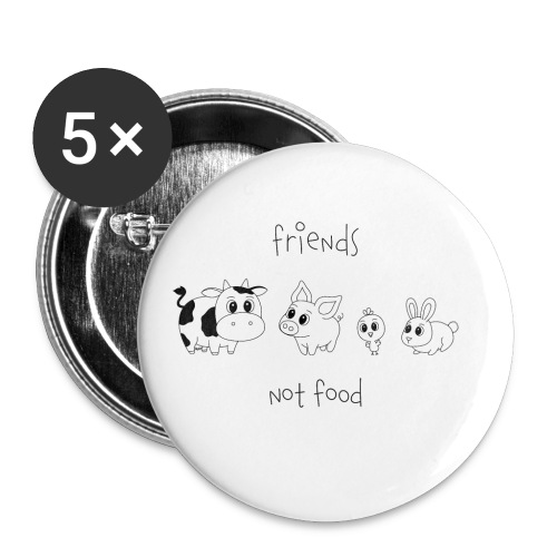 Friends, not food! (Schwarz) - Buttons klein 25 mm