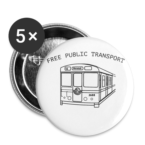 FREE PUBLIC TRANSPORT - Små knappar 25 mm (5-pack)