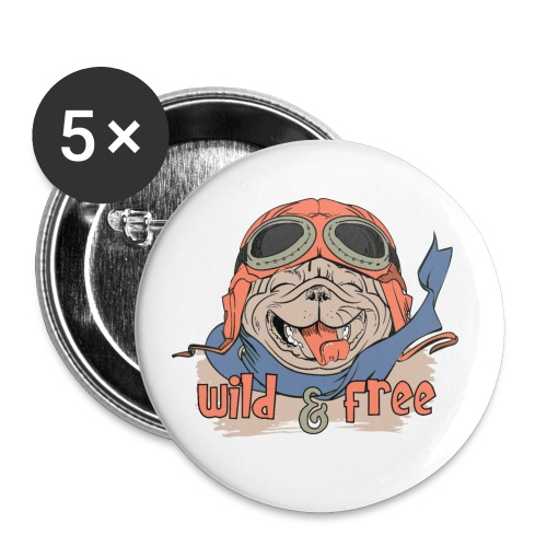 Wild & Free: Happy Pug Flier Freedom - Buttons small 1''/25 mm (5-pack)