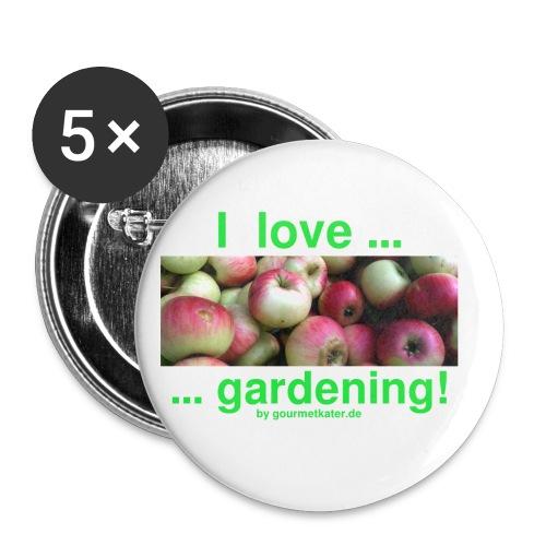 Äpfel - I love gardening! - Buttons klein 25 mm (5er Pack)