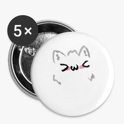 kawaii cat blush - Lot de 5 petits badges (25 mm)