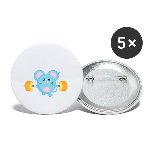 little mouse, mouse, mouse on sports, mouse with barbell - Buttons small 1''/25 mm (5-pack)