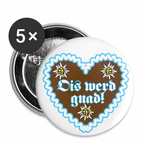 10 Lebkuchenherz Edelweiss Ois werd guad Bayern - Buttons klein 25 mm (5er Pack)