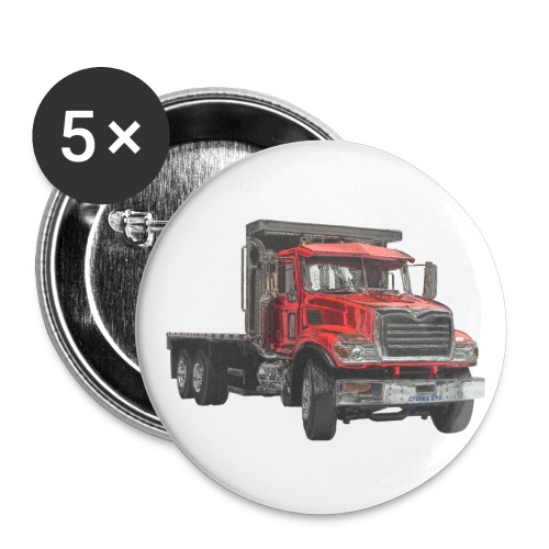 Flat Truck 3-axle - Red - Buttons small 1''/25 mm (5-pack)