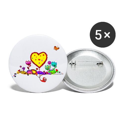 Blumengruß mit Herz - Buttons klein 25 mm (5er Pack)